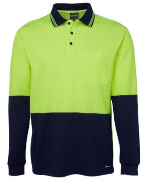Hi Vis Long Sleeve Cotton Back Polo | Workwear