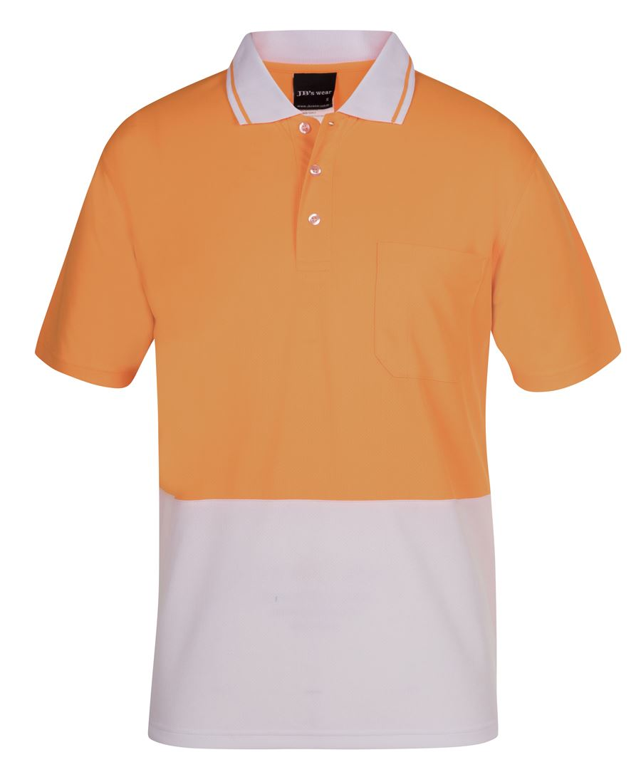 Painters White / Hi Vis Non Cuff Traditional Polo