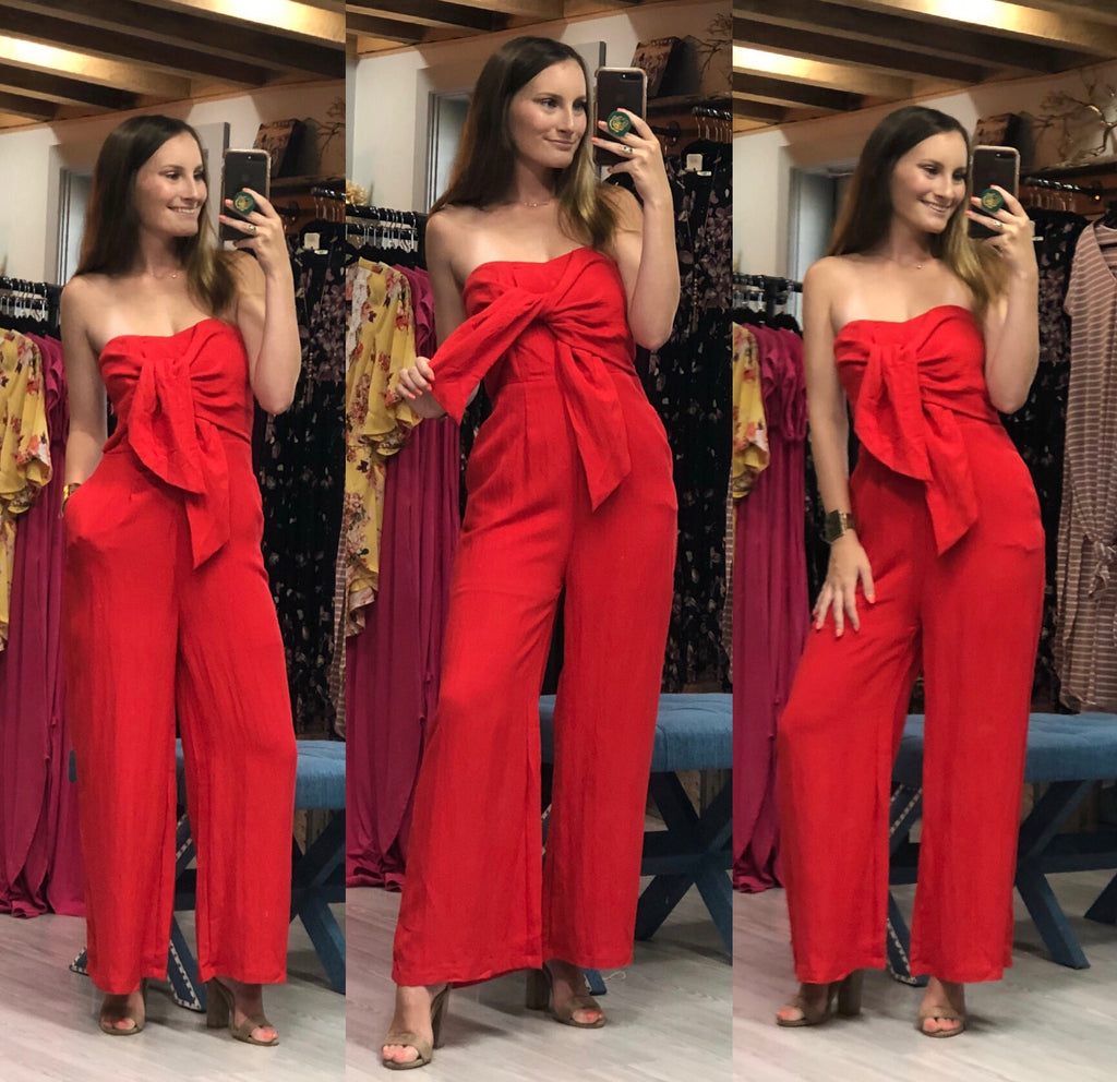 Radiant in Red Jumpsuit
