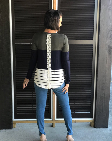 Laceback Colorblock Top