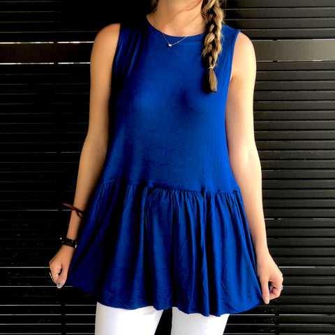 Blue Sleeveless Ruffle Tunic