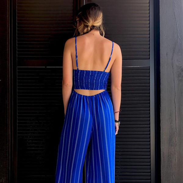 Bringing It In Blue Jumpsuit