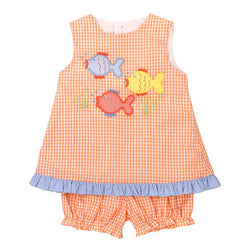 Fish Friends -Criss Crop Bloomer Set Girl Sets Bailey Boys - Oma's Classic Children's Clothing