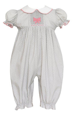 Gray Dot Smocked Bows Long Bubble Romper Petit Bebe - Oma's Classic Children's Clothing