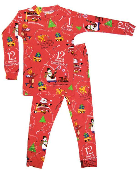 12 Days of Christmas Long Boys John w/Book Sleepwear Books to Bed - Oma's Classic Children's Clothing