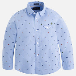 Blue Pattern Long Sleeve Shirt Shirt Mayoral - Oma's Classic Children's Clothing