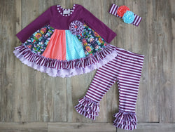 Jeweled Forest Ruffle Dress & Ruffle Legging Girl Sets Serendipity - Oma's Classic Children's Clothing
