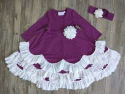 Jeweled Forest Plum Maxi Dress w/ Ruffle Dress Serendipity - Oma's Classic Children's Clothing
