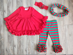 Ruffle Collection Red Top w/Green Striped Icing Leggings