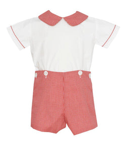 Boy's Red Mini Check Short Set Button-On Short Set Petit Bebe - Oma's Classic Children's Clothing