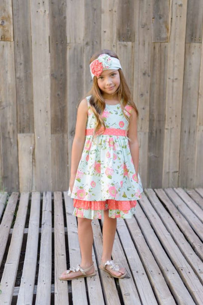 Coral Vine 3 Tier Dress w/ Headband Dress Serendipity - Oma's Classic Children's Clothing