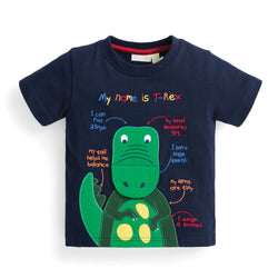 Boys' Roar-Some T-Rex Applique Tee Shirt JoJo Maman BeBe - Oma's Classic Children's Clothing