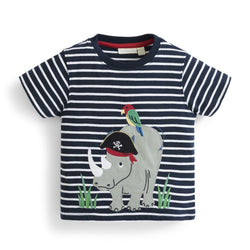 Boys' Rhino Applique Tee Shirt JoJo Maman BeBe - Oma's Classic Children's Clothing