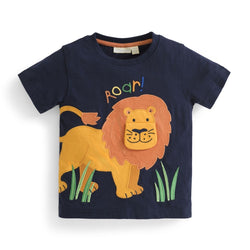 Boys' Lion Roar Applique Tee Shirt JoJo Maman BeBe - Oma's Classic Children's Clothing
