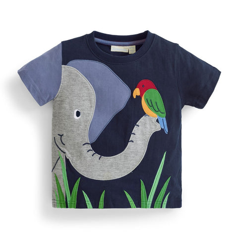 Boys' Elephant Applique Tee Shirt JoJo Maman BeBe - Oma's Classic Children's Clothing