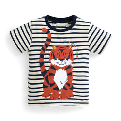 Boys' T is for Tiger Applique Tee Shirt JoJo Maman BeBe - Oma's Classic Children's Clothing