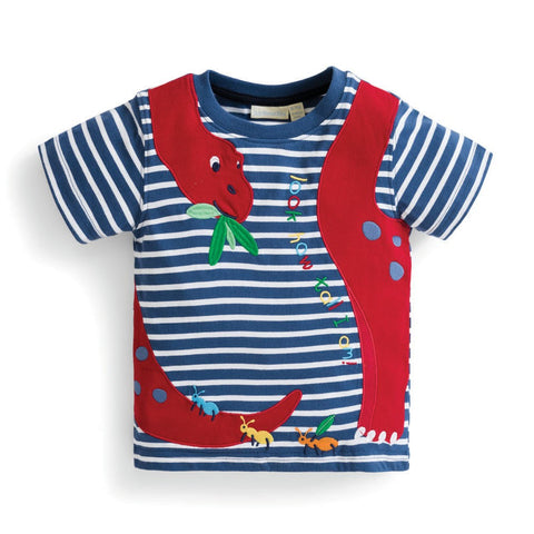 Boys' Diplodocus Applique Tee Shirt JoJo Maman BeBe - Oma's Classic Children's Clothing