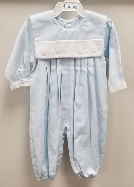 Blue Longall with White Bib Collar and Embroidered Elephants Longall Auraluz - Oma's Classic Children's Clothing