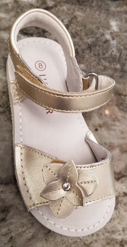 L'Amour Flower Velcro Vamp Sandal Shoes L'Amour - Oma's Classic Children's Clothing