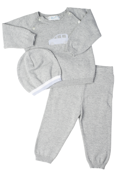 Knit Car Two Piece & Hat Baby Set Feltman Brothers - Oma's Classic Children's Clothing