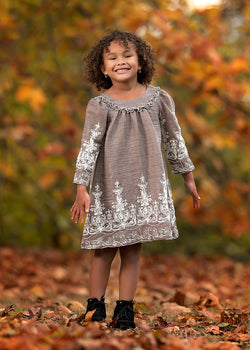 Gracie Taupe Dress Dress Isobella and Chloe - Oma's Classic Children's Clothing