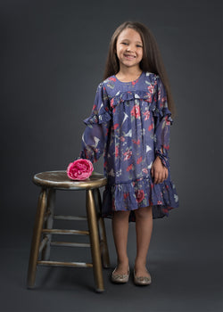 Four Seasons Purple Dress Dress Isobella and Chloe - Oma's Classic Children's Clothing