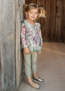 Four Seasons Green Legging Set Girl Sets Isobella and Chloe - Oma's Classic Children's Clothing