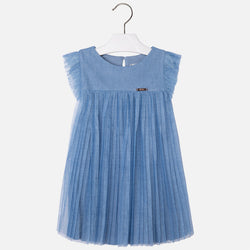 Denim Style Pleated Dress Dress Mayoral - Oma's Classic Children's Clothing