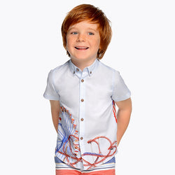 Day Off Short Sleeved Printed Shirt for Boy Shirt Mayoral - Oma's Classic Children's Clothing