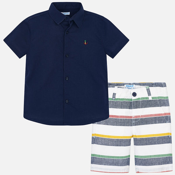 Shirt and Striped Bermuda Shorts Set for Boy