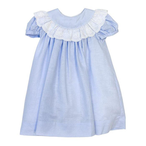 Blue Linen Classic Collection Girls Float Dress Bailey Boys - Oma's Classic Children's Clothing