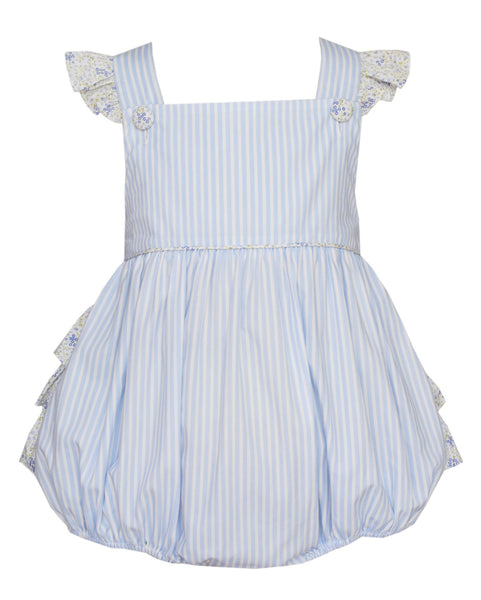 Blue Floral Ruffle Bubble Bubble Claire & Charlie - Oma's Classic Children's Clothing