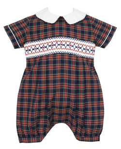 Boys Navy Plaid Smocked Bubble Bubble Anavini - Oma's Classic Children's Clothing