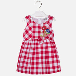 Checked Dress with Embroidered Flower Dress Mayoral - Oma's Classic Children's Clothing