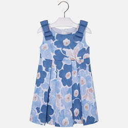 Floral Printed Dress with Bows on Shoulders Dress Mayoral - Oma's Classic Children's Clothing