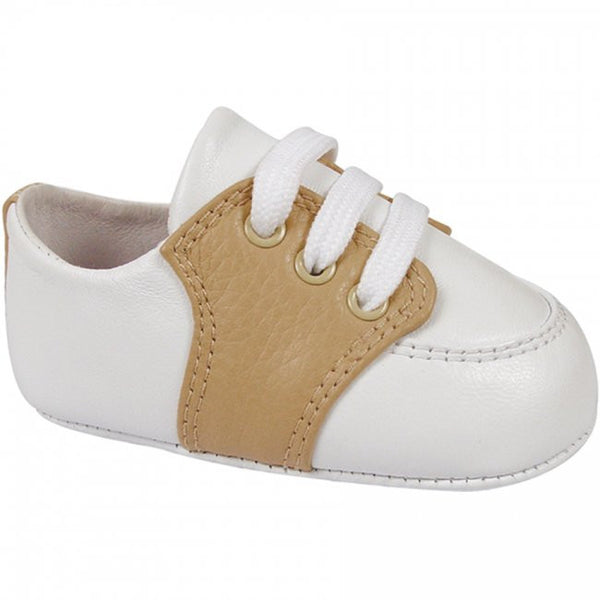 White and Tan Pebbled Leather Saddle Oxford Shoe Shoe Baby Deer - Oma's Classic Children's Clothing