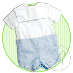 Button-On Square Collar Short Set Button-On Short Set Rosalina - Oma's Classic Children's Clothing