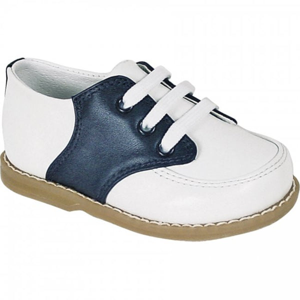 White and Navy Leather Saddle Oxford Shoe Shoe Baby Deer - Oma's Classic Children's Clothing