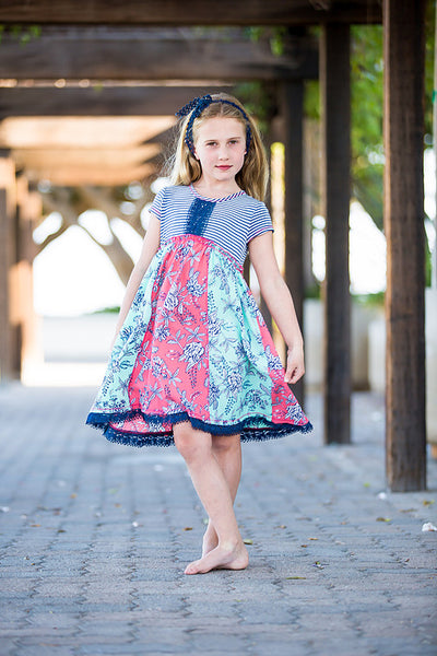 Denim Floral Cap Sleeve Dress Dress Pink Vanilla - Oma's Classic Children's Clothing