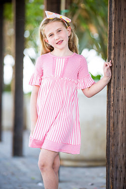 Coral/Ivory Stripe Short Sleeve Dress Dress Pink Vanilla - Oma's Classic Children's Clothing