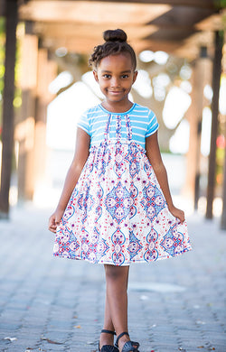 Ivory/Blue Short Sleeve Dress Dress Pink Vanilla - Oma's Classic Children's Clothing