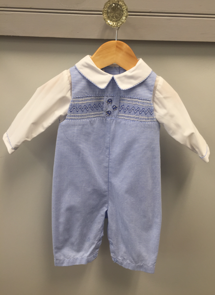 Gingham Longall w/Cars Romper Renzo - Oma's Classic Children's Clothing