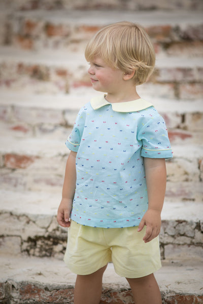 Connor Aqua Swiss Dot with Yellow Set Boy Sets The Oaks - Oma's Classic Children's Clothing