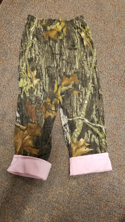 Mossy Oak Camo  Pants with Pink Cuff Pants Bonnie's Sportswear - Oma's Classic Children's Clothing