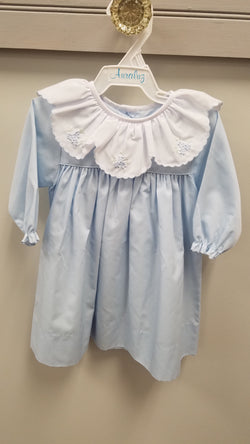 Blue Dress with White Scalloped Collar and Floral Embroidery Dress Auraluz - Oma's Classic Children's Clothing