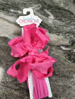 "5.5"" Double Ruffle Bow w/Headband Hair Accessories Beyond Creations - Oma's Classic Children's Clothing"