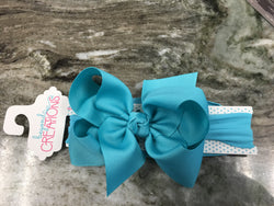 "5.5"" Grosgrain Bow on Headband Hair Accessories Beyond Creations - Oma's Classic Children's Clothing"