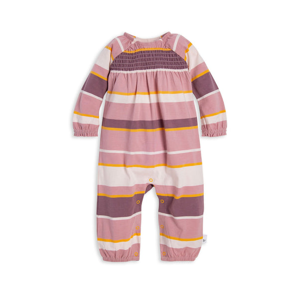 Autumn Sky Multi-Stripe Smocked Organic Baby Jumpsuit Bodysuits Burt's Bees Baby - Oma's Classic Children's Clothing