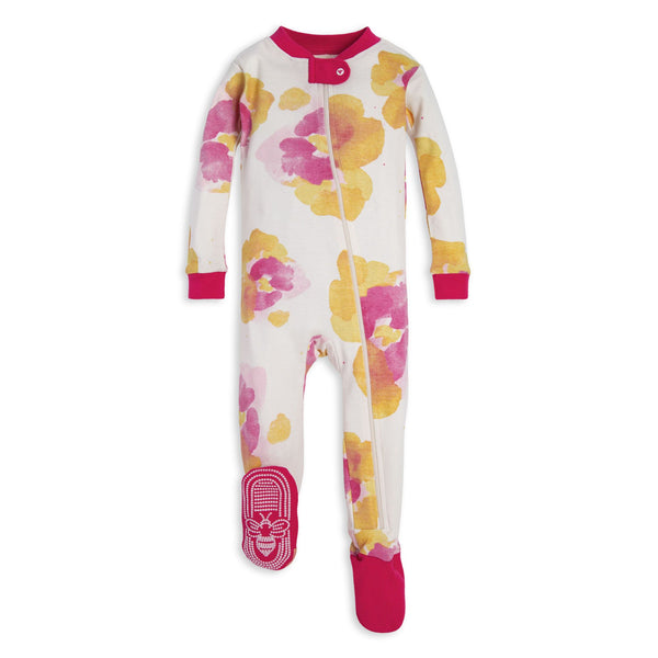 Exploded Pansies Organic Baby Zip Up Footed Pajamas Bodysuits Burt's Bees Baby - Oma's Classic Children's Clothing