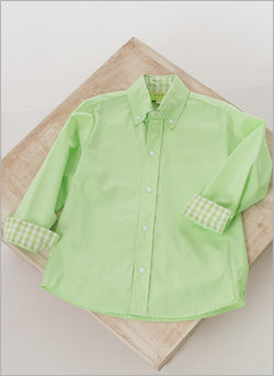 Michael Long Sleeve Button Down w/Checked Cuff Shirt Le' Za Me - Oma's Classic Children's Clothing